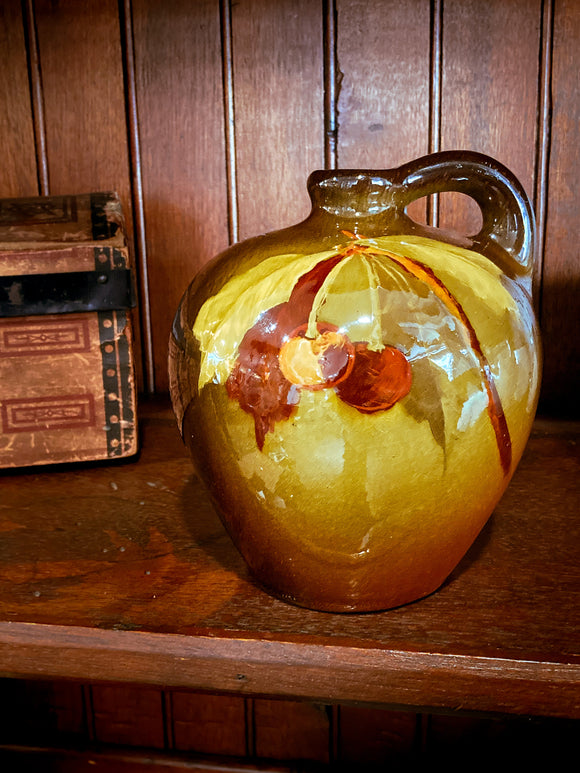 Antique Weller Louwelsa Hand Painted Cherry Ceramic Aurelian Jug