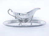 Vintage Sterling Silver Footed Sauce Boat & Oval Tray Under Plate Set