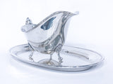 Vintage Sterling Silver Footed Sauce Boat & Oval Tray Under Plate Set Side 2