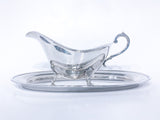 Vintage Sterling Silver Footed Sauce Boat & Oval Tray Under Plate Set Side 4