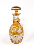 Antique Amber Cut To Clear Floral Vine Motif Mushroom Top Decanter Side 2