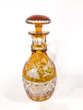 Antique Amber Cut To Clear Floral Vine Motif Mushroom Top Decanter Side 3