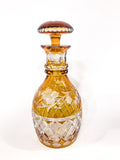 Antique Amber Cut To Clear Floral Vine Motif Mushroom Top Decanter Side 4