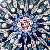 Vintage Blue Millefiori Perthshire Scotland Large Glass Paperweight Close Up Pattern