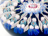 Vintage Blue Millefiori Perthshire Scotland Large Glass Paperweight Close Up Side