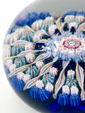 Vintage Blue Millefiori Perthshire Scotland Large Glass Paperweight Close Up Side 2