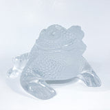 Lalique Clear Frosted Clear Crystal Glass Gregoire Toad Frog Sculpture Front