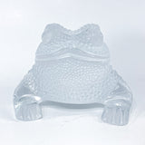 Lalique Clear Frosted Clear Crystal Glass Gregoire Toad Frog Sculpture Directly Front