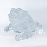 Lalique Clear Frosted Clear Crystal Glass Gregoire Toad Frog Sculpture Side 1