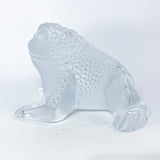 Lalique Clear Frosted Clear Crystal Glass Gregoire Toad Frog Sculpture Profile 1