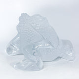 Lalique Clear Frosted Clear Crystal Glass Gregoire Toad Frog Sculpture Side 2