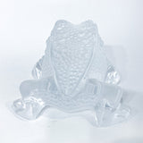 Lalique Clear Frosted Clear Crystal Glass Gregoire Toad Frog Sculpture Back