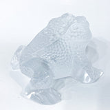 Lalique Clear Frosted Clear Crystal Glass Gregoire Toad Frog Sculpture Side 3