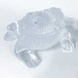 Lalique Clear Frosted Clear Crystal Glass Gregoire Toad Frog Sculpture Slightly above
