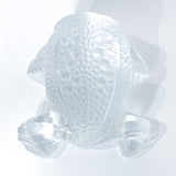 Lalique Clear Frosted Clear Crystal Glass Gregoire Toad Frog Sculpture Top