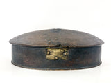 Antique Anglo Indian Rustic Domed Oval Wood Spice Box Circa 1900 Back