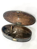 Antique Anglo Indian Rustic Domed Oval Wood Spice Box Circa 1900 Open Top Down