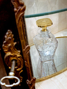 Antique 14K Yellow Gold Stopper Cut Glass Scent Bottle American Decanter
