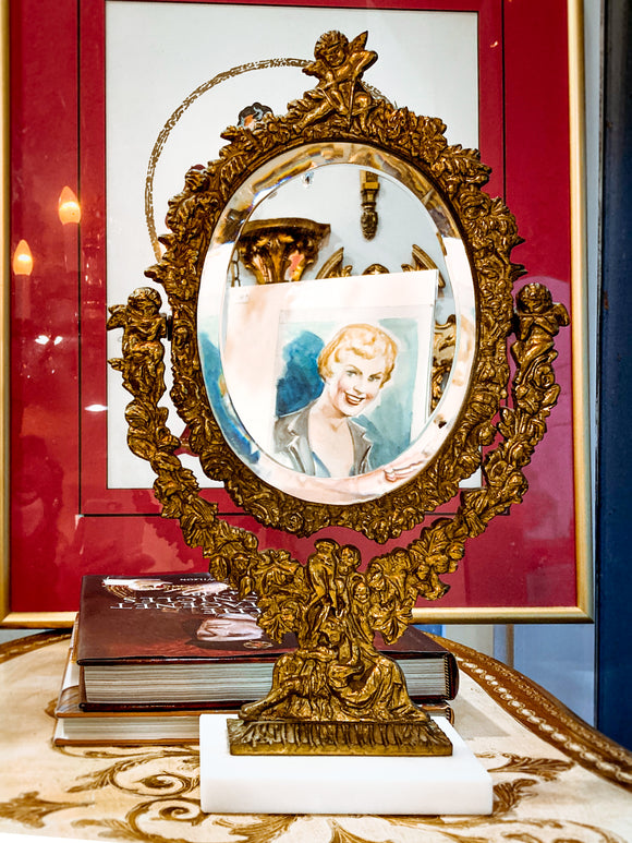Vintage Vanity Hollywood Regency Cherub Cast Metal Gold Marble Base Mirror