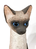 Ceramic Siamese Cat Sculpture by Artist Dane Burr, Cleveland, Ohio (1925 - 2013) Head Close Up
