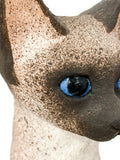 Ceramic Siamese Cat Sculpture by Artist Dane Burr, Cleveland, Ohio (1925 - 2013) Eye Close Up