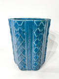 Antique 1931 Rookwood Aqua Glaze Ruffled Rim Lattice Ceramic Vase 6266 Side 1