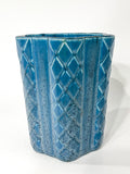 Antique 1931 Rookwood Aqua Glaze Ruffled Rim Lattice Ceramic Vase 6266 Side 2