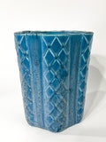 Antique 1931 Rookwood Aqua Glaze Ruffled Rim Lattice Ceramic Vase 6266 Side 3
