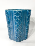 Antique 1931 Rookwood Aqua Glaze Ruffled Rim Lattice Ceramic Vase 6266 Side 4