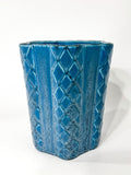 Antique 1931 Rookwood Aqua Glaze Ruffled Rim Lattice Ceramic Vase 6266 Side 5