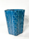 Antique 1931 Rookwood Aqua Glaze Ruffled Rim Lattice Ceramic Vase 6266 Side 6