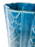 Antique 1931 Rookwood Aqua Glaze Ruffled Rim Lattice Ceramic Vase 6266 Close Up Rim and Lattice