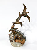 Birds in Flight Sea Sculpture by Artist Curtis Jere Artisan House 1970's Front 2