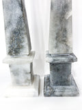20th Century Pair of Mottled Gray & White Marble Tall Obelisks Close Up Bases