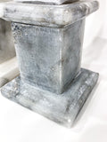 20th Century Pair of Mottled Gray & White Marble Tall Obelisks Close Up Darker Base with Wear