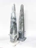 20th Century Pair of Mottled Gray & White Marble Tall Obelisks Angled