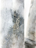 20th Century Pair of Mottled Gray & White Marble Tall Obelisks Close Up Marbling