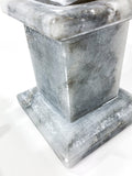 20th Century Pair of Mottled Gray & White Marble Tall Obelisks Close Up Base 1