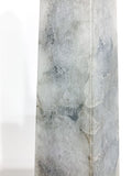 20th Century Pair of Mottled Gray & White Marble Tall Obelisks Close Up Texture