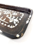 Antique 1920s Chinese Mache & Mother Of Pearl Inlay Small Tray Close Up Corner 1