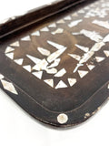 Antique 1920s Chinese Mache & Mother Of Pearl Inlay Small Tray Close Up Corner 2