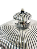 Antique 19th Century Tiffany & Co. Silver Soldered Three Piece Butter Dish Close Up Top