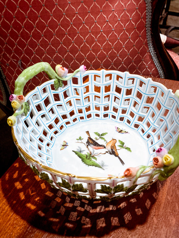 Vintage Herend Bunch of Tulips Rothschild Birds Floral Reticulated Porcelain Basket
