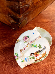 Vintage Herend Rothschild Style Floral Branch Bird Heart Shaped Porcelain Box