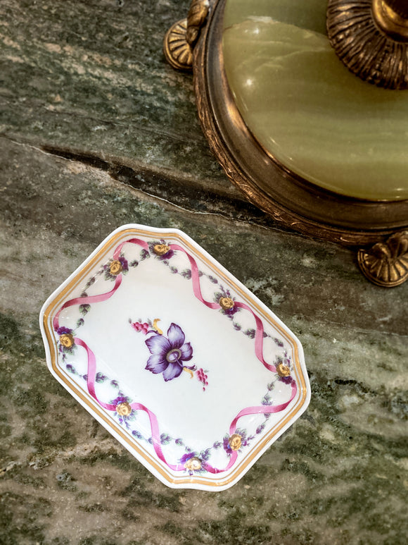 Vintage Richard Ginori Floral Purple Gold Small Porcelain Italian Dish