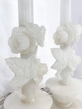 Vintage Pair Hand Carved Blossoming Rose Vine Alabaster Table Lamps Carved Sections