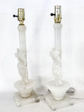 Vintage Pair Hand Carved Blossoming Rose Vine Alabaster Table Lamps Sides