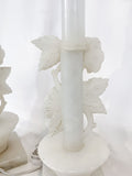 Vintage Pair Hand Carved Blossoming Rose Vine Alabaster Table Lamps Back Close Up 2