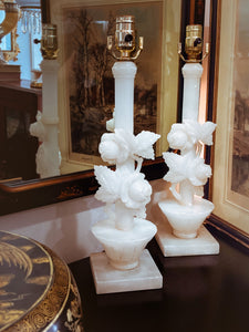 Vintage Pair Hand Carved Blossoming Rose Vine Alabaster Table Lamps