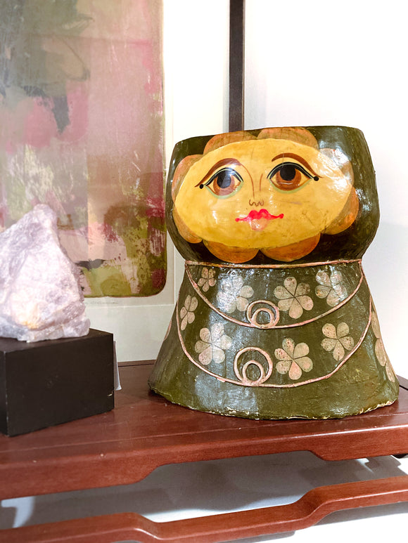 Vintage Kitsch Paper Mache Feranza Mexico Floral Female Head Vase